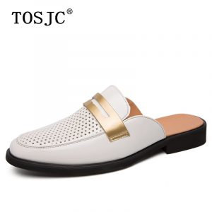 TOSJC Fashion Half Shoes for Man Patent Leather Mules Hollow Breathable Penny Loafers Men Half Slippers Lightweight Casual Shoes
