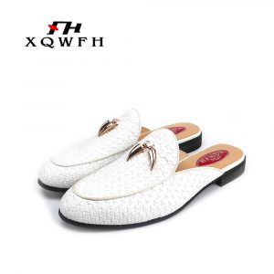 Summer Clog For Men Woven Leather Slippers