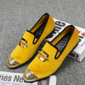 New Gold Velvet and Gold Toe Men Loafers Fashion