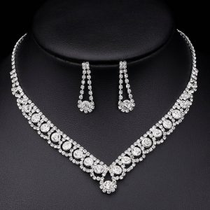 Silver Color Rhinestone Crystal Jewelry Set