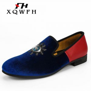 Blue Velvet and Red Leather Matching Men Loafers